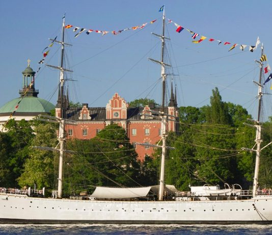 Sray at full-rigged steel-ship in Stockholm