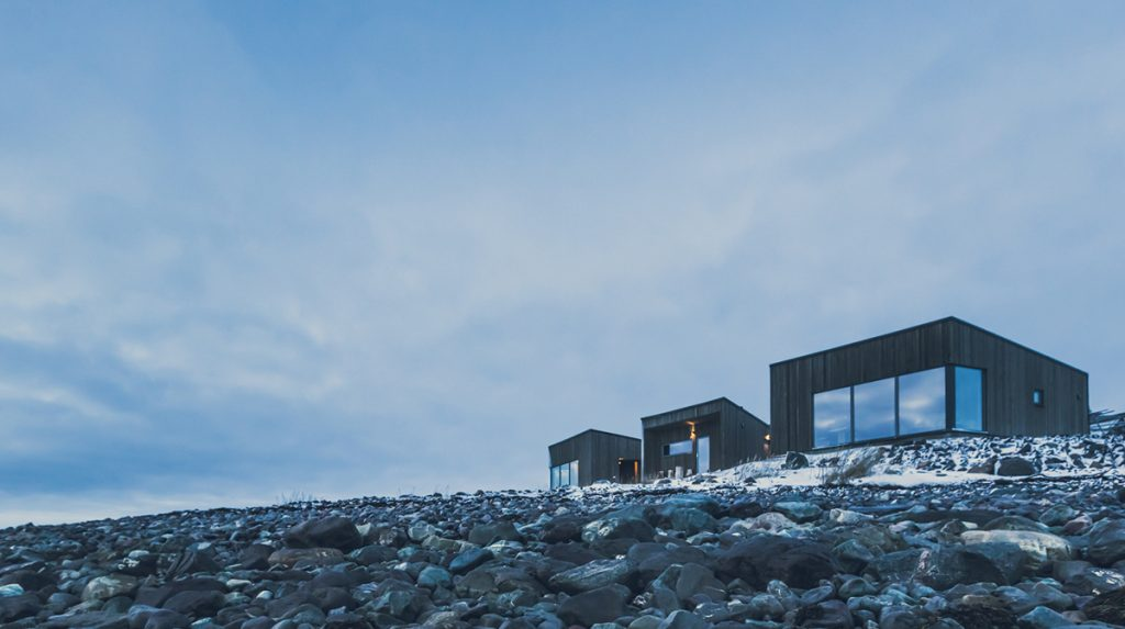 Varanger lodge by the waterfront in wintertime